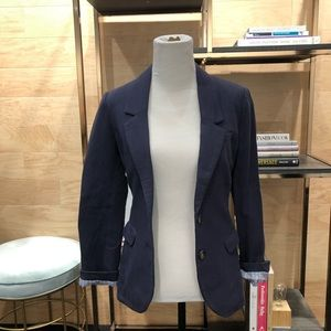 Navy Blue Blazer with Light Brown Elbow Patches